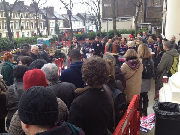 Thursday 23/01/14: UCU officers address a rally outside the RHB