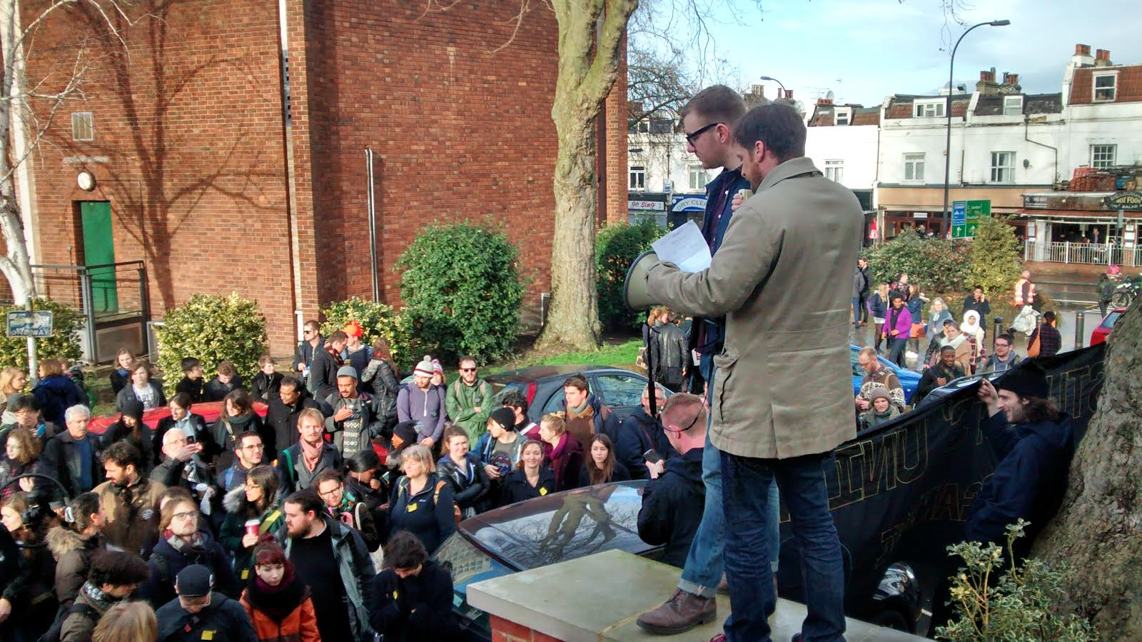 28/01/14: Goldsmiths UCU President addresses the crowd outside the college